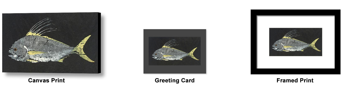 roosterfish gyotaku art