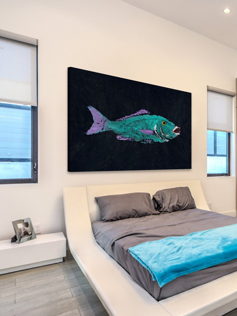 hoglipped snapper gyotaku wall art