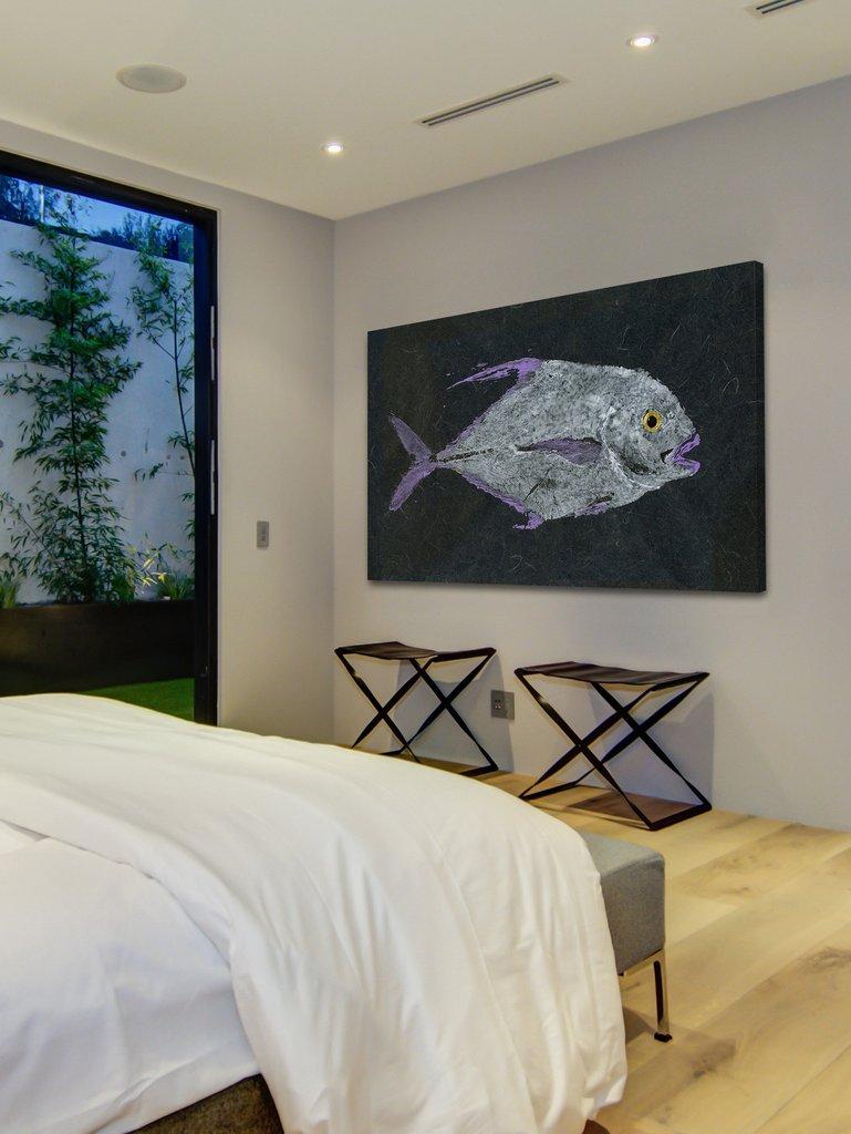 african pompano gyotaku wall art