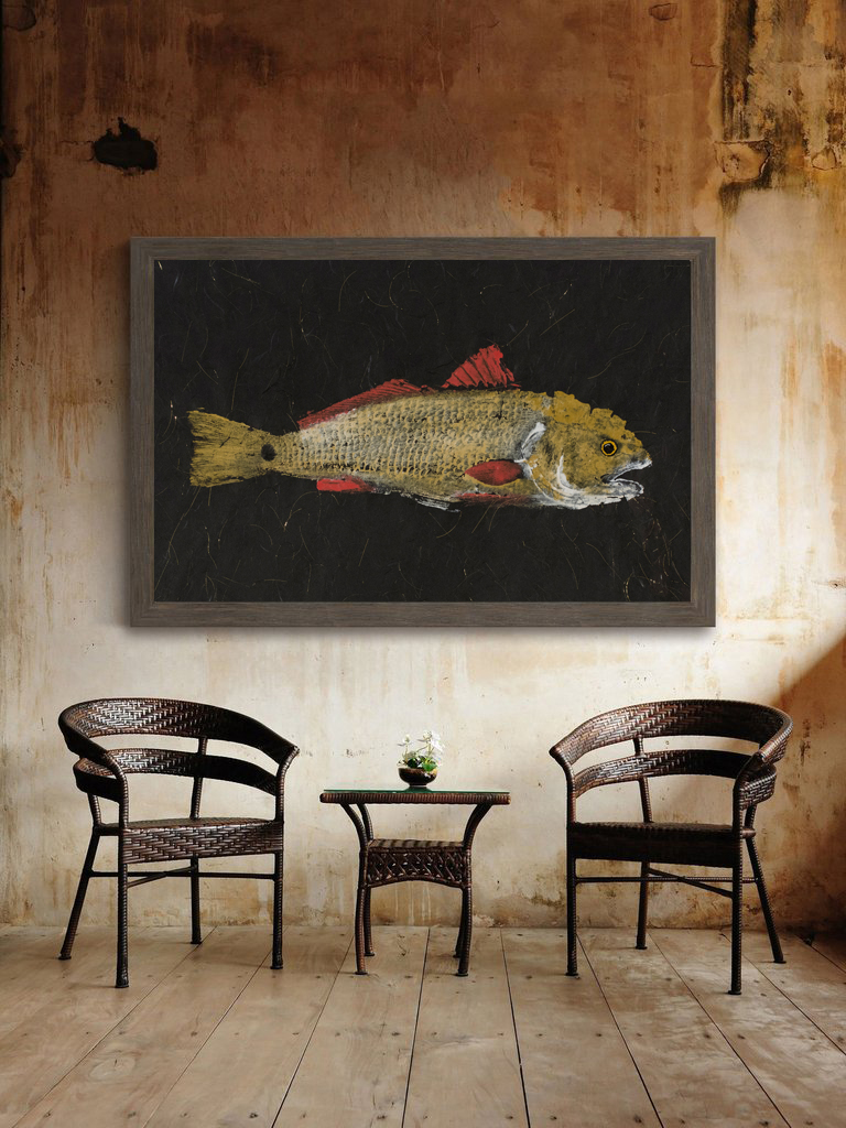 redfish gyotaku wall art