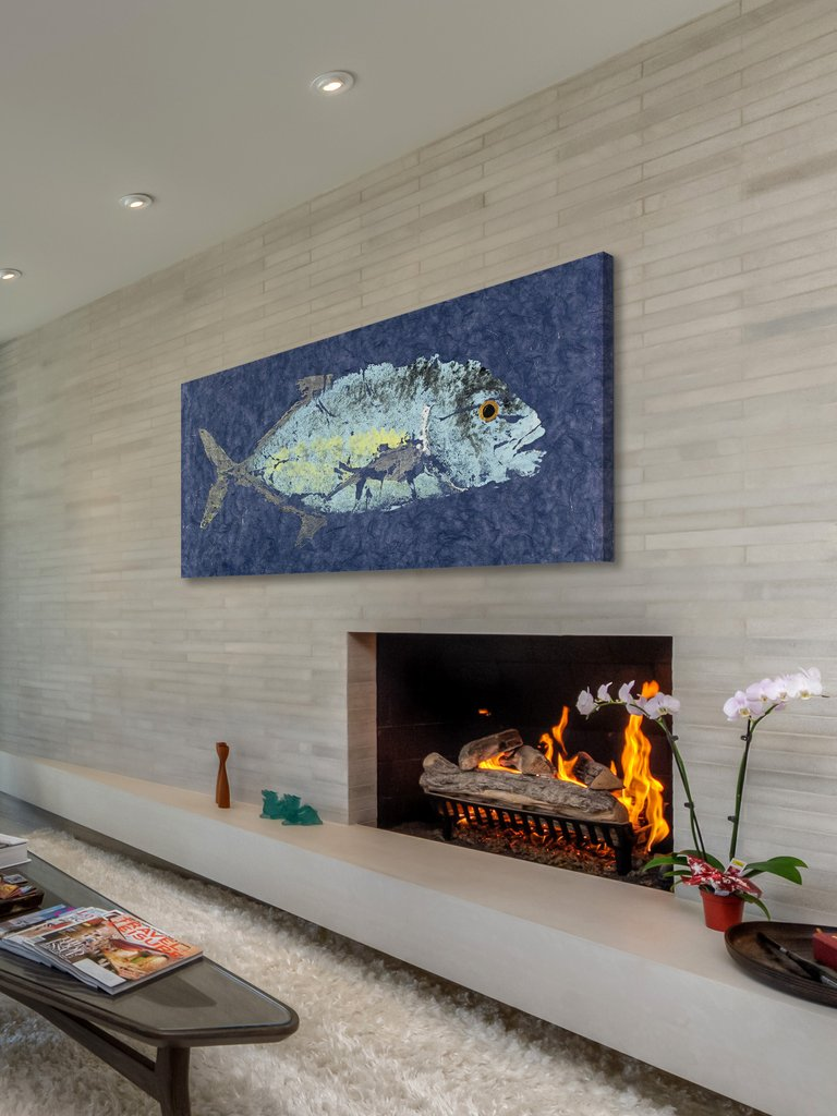 trevally gyotaku wall art