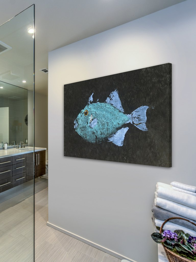 triggerfish gyotaku wall art