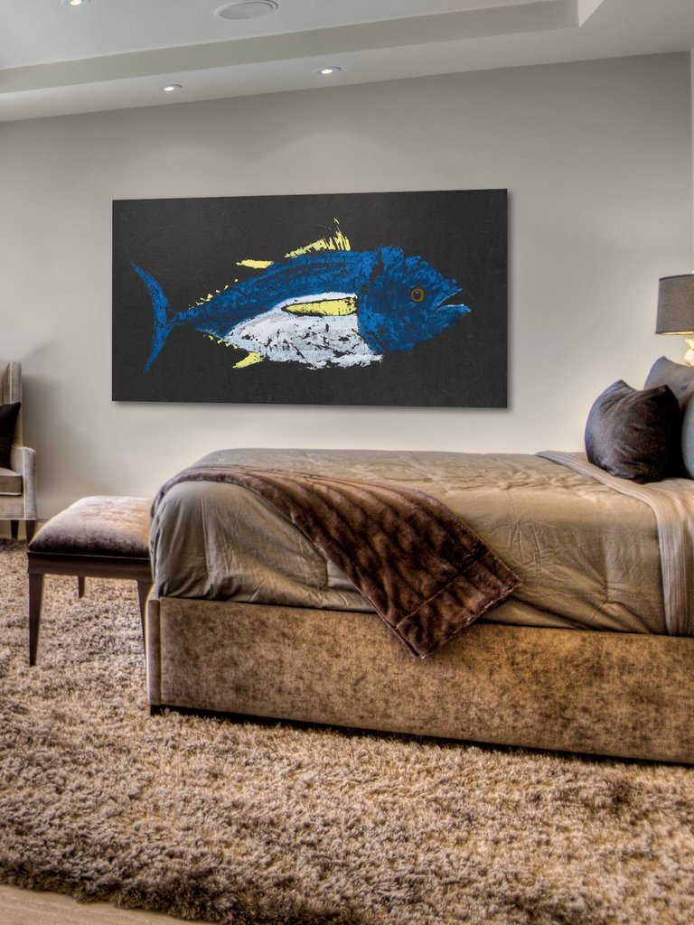 yellowfin tuna gyotaku wall art